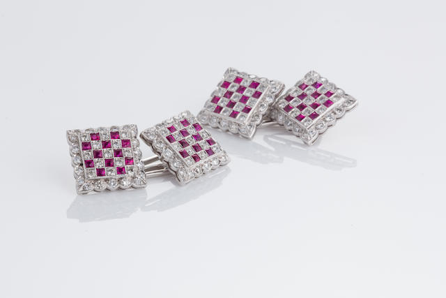 A pair of ruby and diamond cufflinks