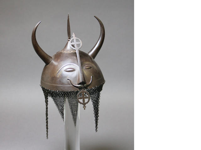 An Indian 'devil' helmet