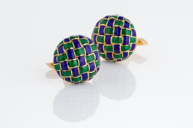 A pair of eighteen karat gold, green and blue enamel cufflinks