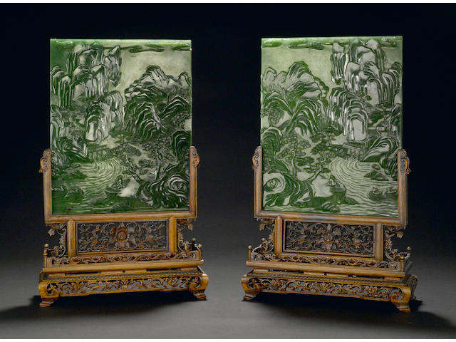 A pair of spinach jade landscape plaques Republic period