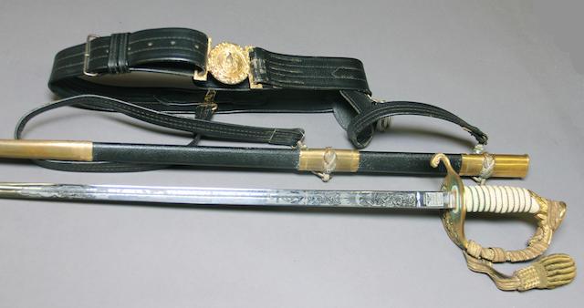 A U.S. Navy officer's sword with waist belt