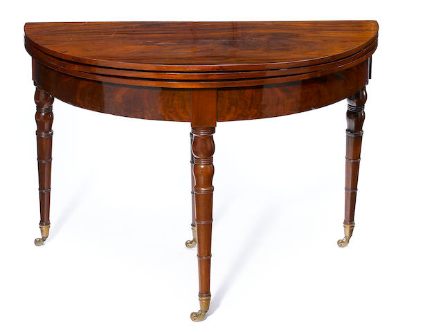 A Directoire mahogany fold top table à jeux <BR />late 18th century