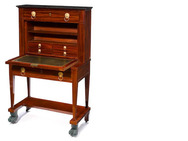 An Empire mahogany bonheur du jour  <BR />first quarter 19th century