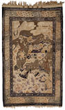 A silk and metal thread-woven rug Late Qing/Republic period 62 1/4 x 37 1/2in (158 x 95cm)