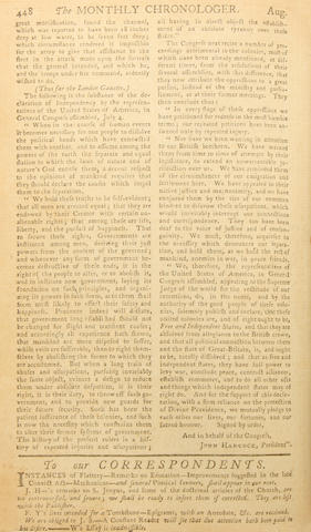 [DECLARATION OF INDEPENDENCE.] The Declaration of Independence [in:] The London Magazine, or Gentleman's Monthly Intelligencer. Vol. XLV For the Year 1776. London: R. Baldwin, 1776.