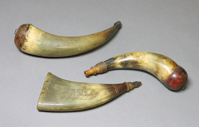 A lot of three 19th century powder horns