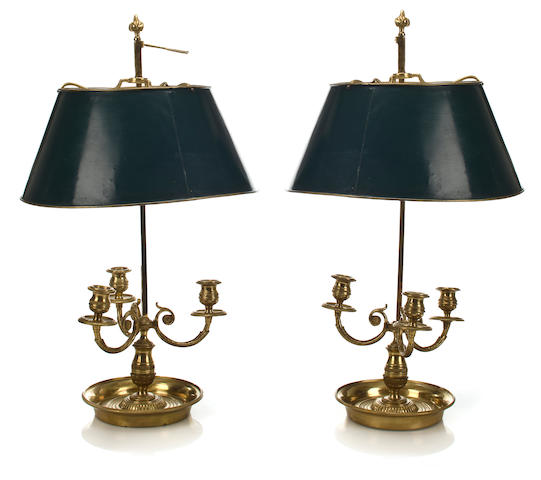 A pair of gilt bronze boulliotte lamps with green tole shades