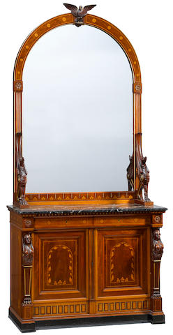 An Empire style carved mahogany mirrored buffet<BR />19th century