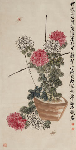 Attributed to Qi Baishi. Chrysanthimums and insects, framed and glazed