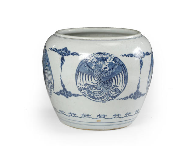 A large blue and white porcelain fish bowl Kangxi period