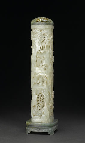 An elegant carved nephrite incense container 18th century