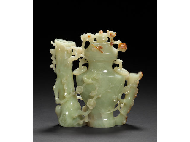 A carved yellow jade covered vase 20th century