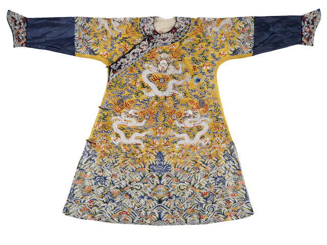An embroidered silk yellow-ground dragon robe 20th century