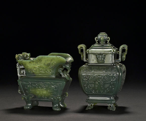 Two spinach jade archaistic vessels