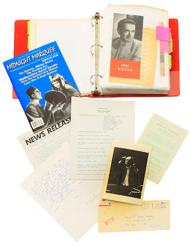 "ROZSA, MIKLOS. 1907-1995. 15 Autograph Letters Signed (""Miklos""), 28 pp, 4to and 8vo, various places including Paris and Italy, 1969-1993, his sister Edith Jankay,"