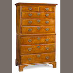 A George II/III walnut chest on chest <BR />mid 18th century