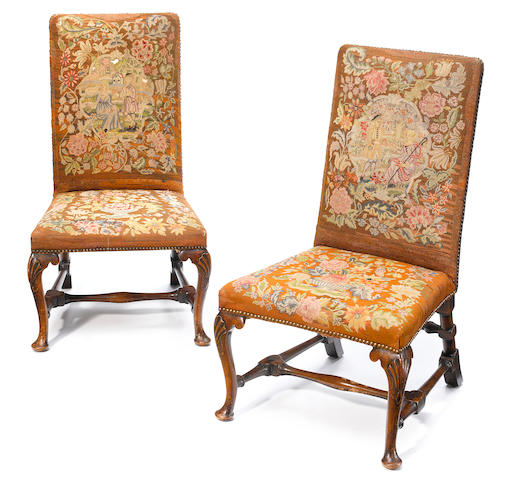 A pair of George I style walnut chairs  late 19th century