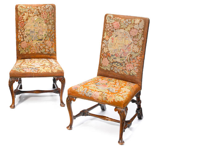 A pair of George I carved walnut side chairs <BR />first quarter 18th century