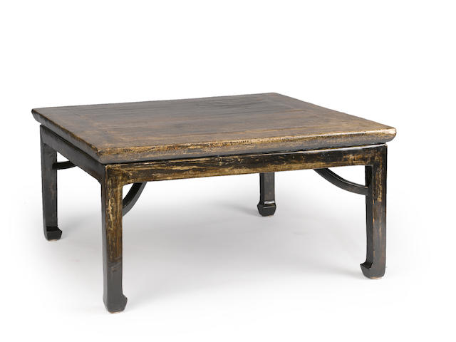 *ON INSPECTED FOR DESSA GODDARD * Chinese lacquer coffee table, top possibly 19th century, base later. Provisional Estimate $800-$1200, as I discussed possibly higher upon inspection by Asian art appraiser. The top possibly hwang hwa li wood.