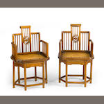 A pair of mixed wood chairs Qing dynasty elements