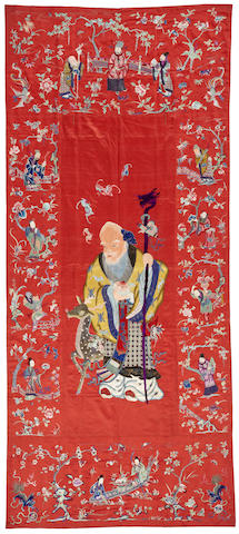 A large embroidered silk panel Late Qing/Republic period
