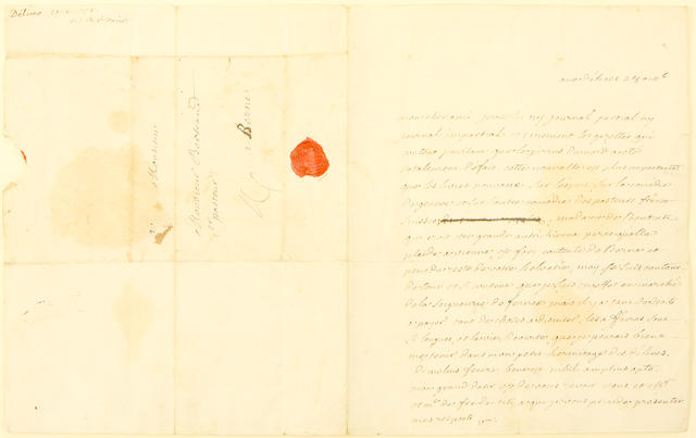 "VOLTAIRE, FRANCOIS-MARIE AROUET DE.  1694-1778. Autograph Letter Signed (""Vre""), 1 p, 4to, [Les Délices], October 28, [1758], to Elie Bertrand of Berne, with"