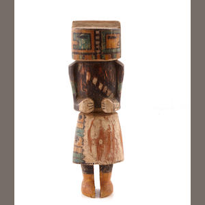 A Hopi kachina doll height with crown 14 1/2in; width 4.5in; depth 3 1/2in