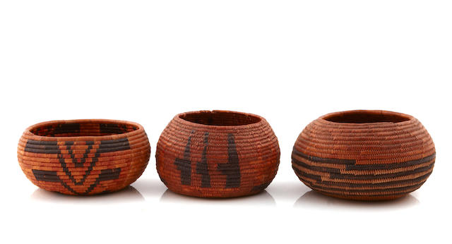 Three Mission polychrome baskets