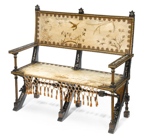 A Carlo Bugatti ebonized wood, bone inlaid, hammered copper overlaid and painted parchment settee circa 1900