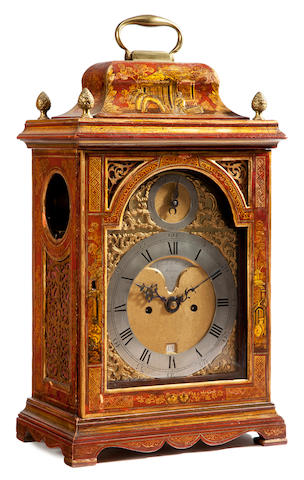 A George III scarlet lacquered bracket clock  Creak & Smith, London third quarter 18th century
