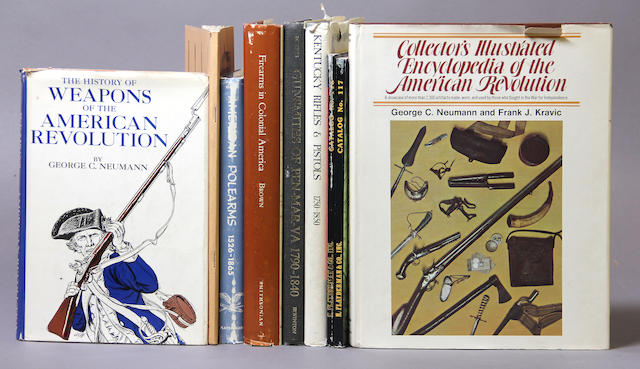 A collection of books on early American arms and the American Revolution