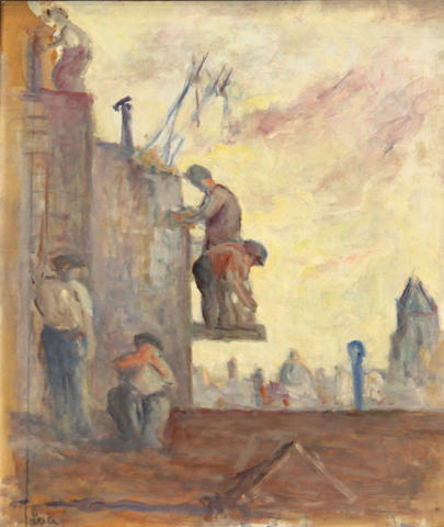 Maximilien Luce (French, 1858-1941) Sur les Toits (Bricklayers) 18 3/4 x 15 3/4in