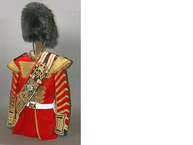 An assembled Elizabeth II drum major's uniform of the Irish Guards