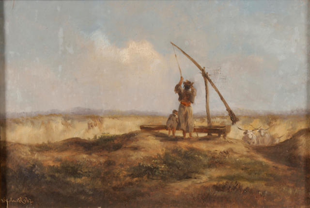 Continental School Figures and oxen in a landscape 7 3/4 x 11 1/4in