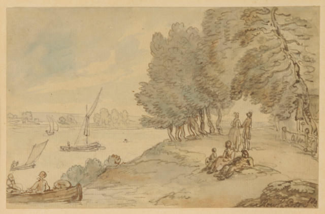 Thomas Rowlandson (British, 1756-1827) Boats on the Thames, near Richmond 4 1/2 x 7in