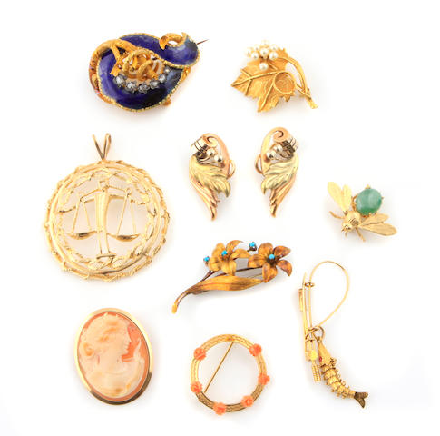 A collection of gem-set, stone, gold, gold-filled, metal and costume jewelry
