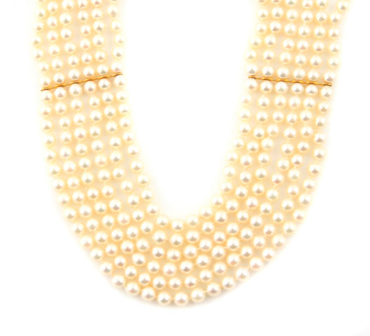 A cultured pearl and gold multi-colored collar necklace