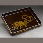 A gilt and black lacquer tray 19th century