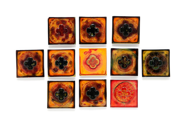 A group of eleven Tiffany Studios molded Favrile glass tiles 1899-1918