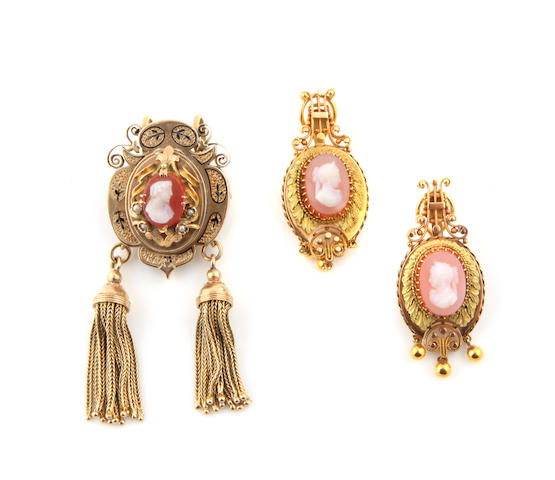 A group of Victorian cameo, enamel and gold jewelry