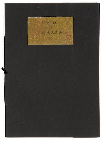 AUDEN, WYSTAN HUGH. 1907-1973. Poem. [Bryn Mawr: Frederic Prokosch], 1933.