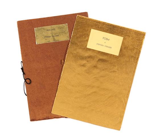 SPENDER, STEPHEN. 1. Poem. [Bryn Mawr: Frederic Prokosch], Christmas, 1934. 4 pp.  2. Perhaps. [Bryn Mawr: Frederic Prokosch, November], 1933. 8 pp.