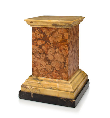 An Italian siena, portor and rosso verona marble pedestal, 19th c.