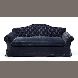 A Scalamandre sofa in blue velvet