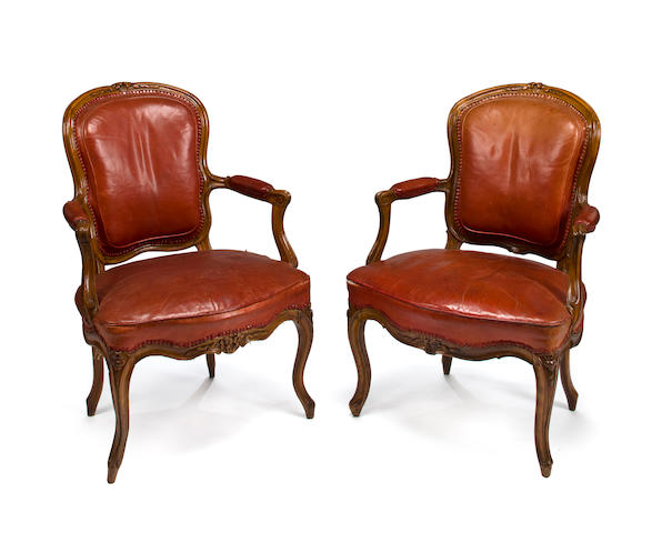 A pair of Louis XV beechwood fauteuils