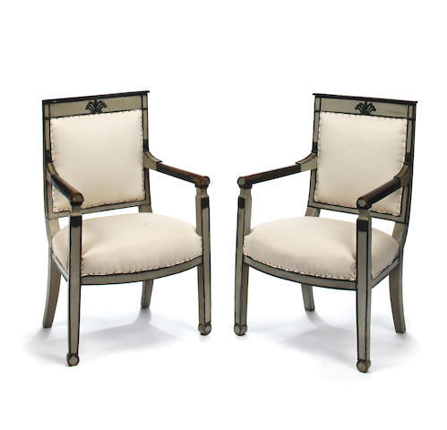 A pair of Directoire style paint decorated fauteuils<BR />early 19th century???