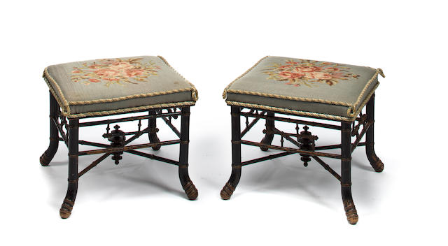 A pair Napoleon III faux bamboo and needlepoint foot stools