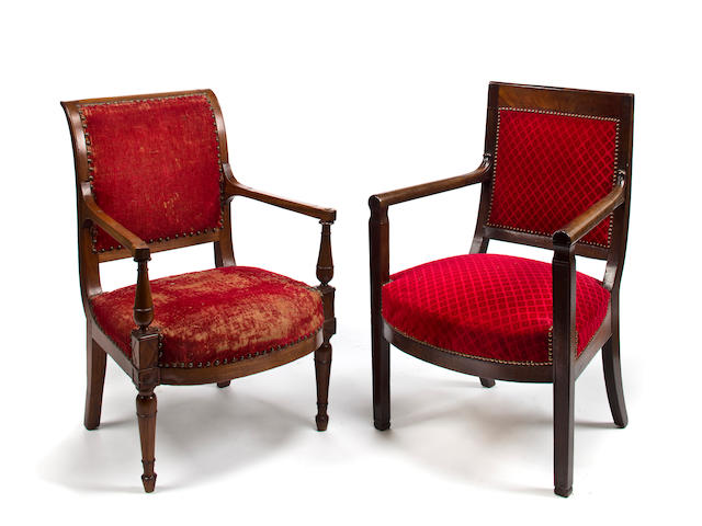 Two similar restoration mahogany armchairs, second quarter 19th c.