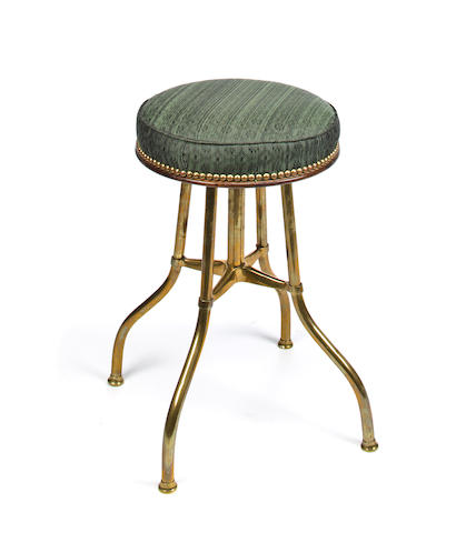 A Victorian patent brass piano stool<BR />third quarter 19th century