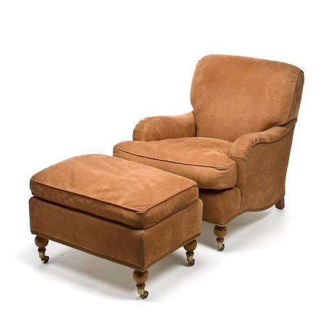 A Scalamandré upholstered armchair and ottoman